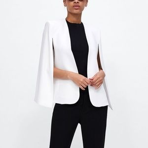 Zara White Cape Blazer Jacket with Slits